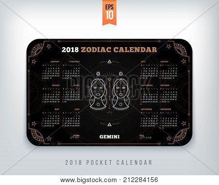 Gemini 2018 year zodiac calendar pocket size horizontal layout Black color design style vector concept illustration.