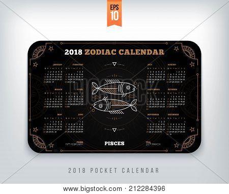 Pisces 2018 year zodiac calendar pocket size horizontal layout Black color design style vector concept illustration.