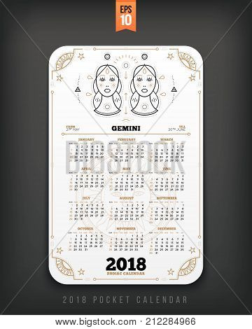 Gemini 2018 year zodiac calendar pocket size vertical layout White color design style vector concept illustration.