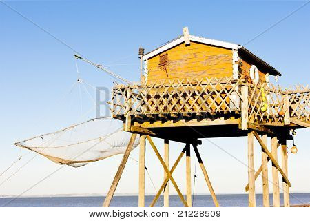 fishing house with a fishing net, Gironde Department, Aquitaine, France