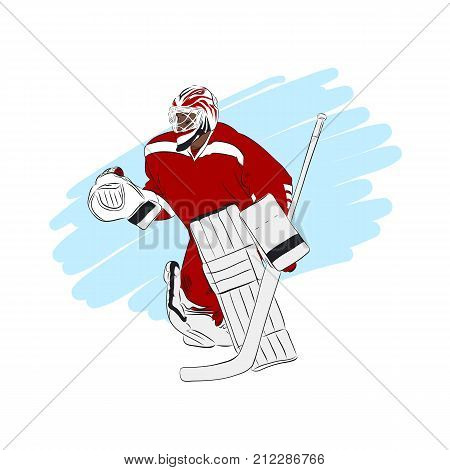 Ice hockey goalie in red jersey, isolated vector illustration. Winter team sport