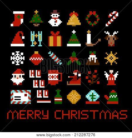 Set of vector pixel art christmas icons. Santa, star, candy, deer, snowflake and other in 8-bit