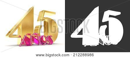 Number Forty Five Years (45 Years) Celebration Design. Anniversary Golden Number Template Elements F