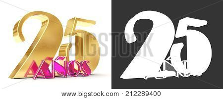 Number Twenty Five Years (25 Years) Celebration Design. Anniversary Golden Number Template Elements