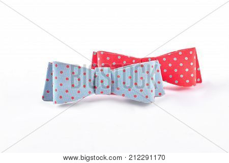 Beautiful dotted bow ties for girls. Two adorable hair bows isolated on white background. fashion accessories for hair.
