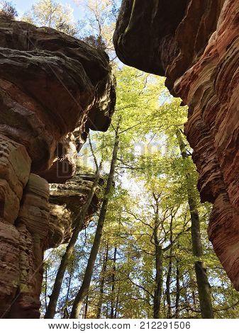 Karst Rocks On Dahner Felsenpfad At Rheinland-pfalz