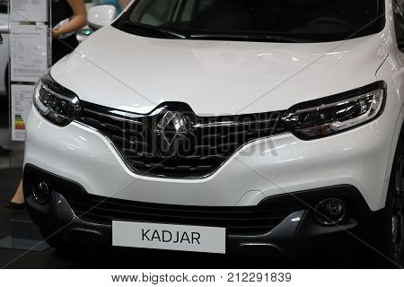 CRACOW POLAND - MAY 20 2017: Renualt Kadjar displayed at MOTO SHOW in Cracow Poland. Exhibitors present most interesting aspects of the automotive industry