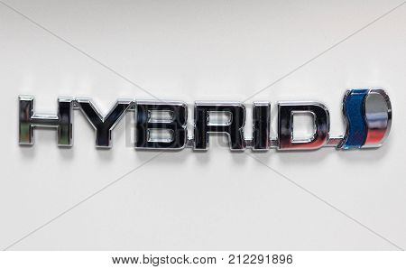 CRACOW POLAND - MAY 20 2017: Toyota hybrid metac logo on the Toyota car displayed at MOTO SHOW in Cracow Poland. Exhibitors present most interesting aspects of the automotive industry