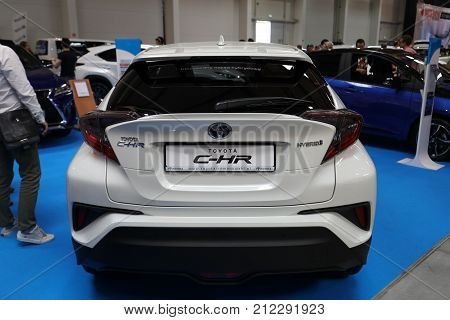 CRACOW POLAND - MAY 20 2017: Toyota C- HR Hybrid displayed at MOTO SHOW in Cracow Poland. Exhibitors present most interesting aspects of the automotive industry