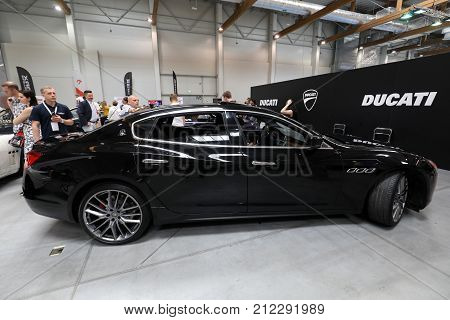CRACOW POLAND - MAY 20 2017: Maserati displayed at MOTO SHOW in Cracow Poland. Exhibitors present most interesting aspects of the automotive industry