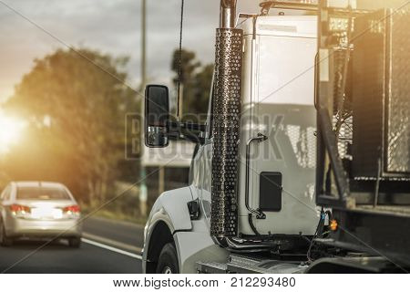 Semi Truck Driver Job. Heavy Duty Transportation Concept. American Trucking