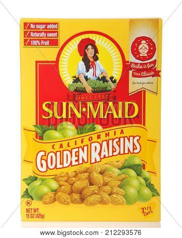 Alameda CA - November 03 2017: One box of Sun Maid brand Golden Raisins. Sun-Maid is the largest raisin and dried fruit processor in the world.