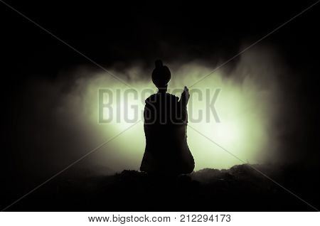 Muslim Men Silhouette Blurred Background,silhouettes,the Light Of Faith, Hope, Faith, Supplication