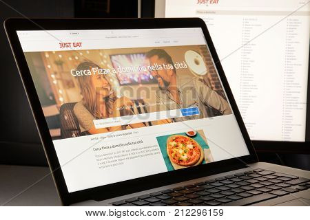 Milan, Italy - May 7, 2017: Just Eat Website Homepage. Just Eat Is A Online Food Delivery Company