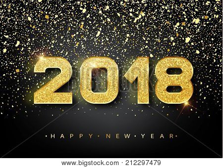 2018 Happy New Year. Gold Numbers Design Of Greeting Card. Gold Shining Pattern. Happy New Year Bann