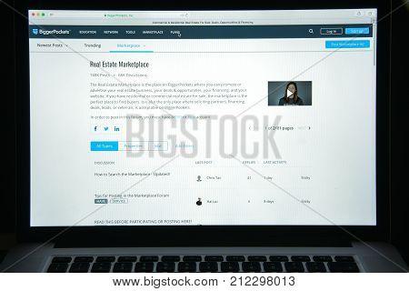 Milan, Italy - August 10, 2017: Biggerpockets Website Homepage. Bigger Pockets Logo Visible.