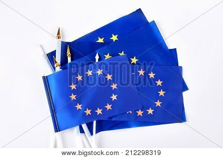 Set of cocktail flags of Europe. Collection of miniature flags of Europe isolated on white background. Symbol of European Community.