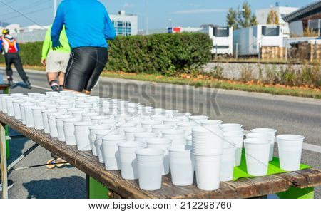 Water stan at running event. Hydrating during a race is important.