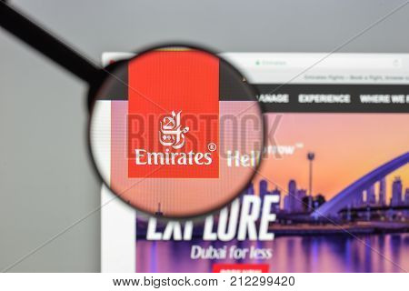 Milan, Italy - August 10, 2017: Emirates Flights Website Homepage. It Is An Airline Based In Dubai,