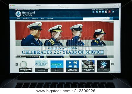 Milan, Italy - August 10, 2017: Homeland Security Website Homepage. It Is A Cabinet Department Of Th