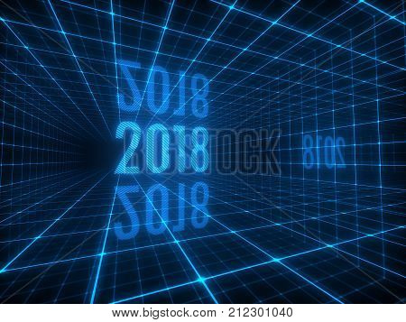 2018 digits in abstract space tunnel with blue grid lines