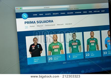 Milan, Italy - August 10, 2017: Ssc Napoli Website Homepage. Napoli Logo Visible.