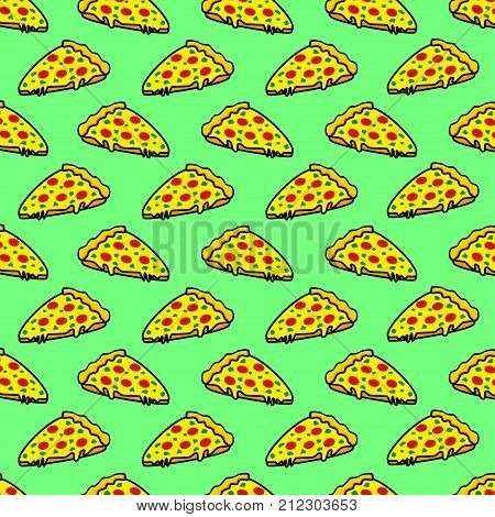 Abstract seamless pizza pattern for girls or boys. Creative vector background with italian pizza tomatoes . Funny wallpaper for textile and fabric. Fashion pizza style. Colorful bright picture
