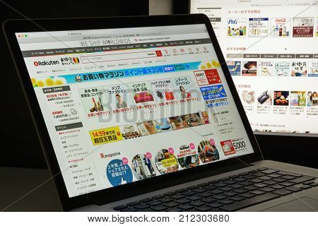 Milan, Italy - August 10, 2017: Rakuten Website Homepage. It Is A Japanese Electronic Commerce And I