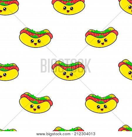 Abstract seamless hot dog pattern for girls or boys. Creative vector background with hot dog sausage. Funny wallpaper for textile and fabric. Fashion hot dog style. Colorful bright picture