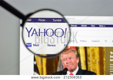 Milan, Italy - August 10, 2017: Yahoo Website Homepage. It Is A Web Services Provider. Yahoo Logo Vi