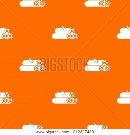 Wooden logs pattern repeat seamless in orange color for any design. Vector geometric illustration