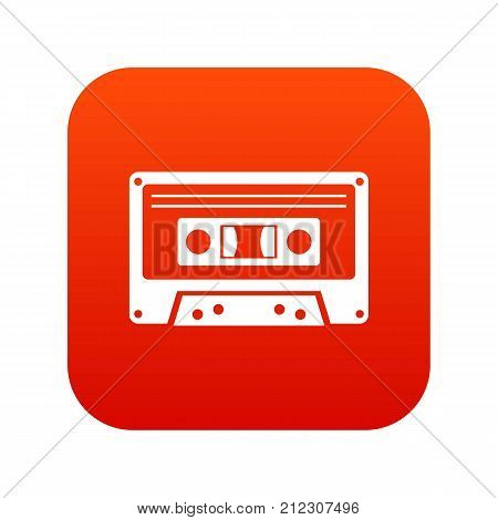Cassette tape icon digital red for any design isolated on white vector illustration