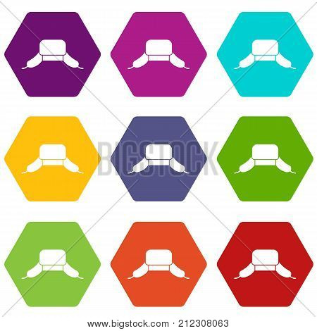 Hat with ear flaps icon set many color hexahedron isolated on white vector illustration