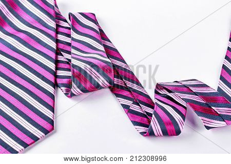 Colored stripes necktie on white background. Male striped necktie isolated on white background. Men business apparel accessory.
