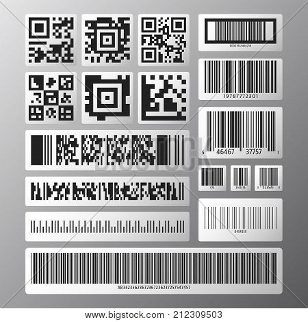 Barcode and QR code set. Collection various barcodes and qr codes on white stikers. Vector illustration.