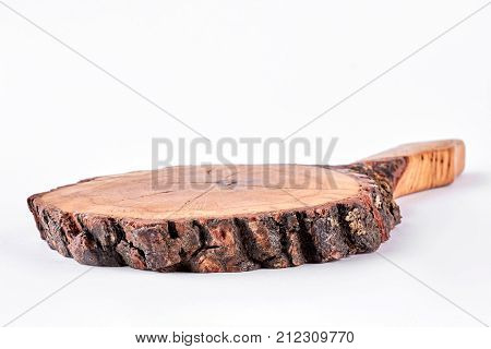 Tree stump on white background. Wooden stump isolated on white background.