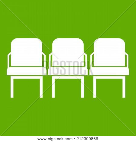 Chairs in the departure hall at airport icon white isolated on green background. Vector illustration