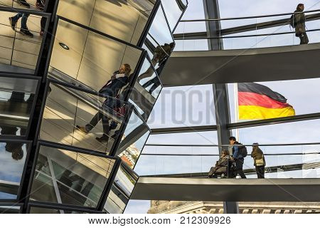 Glass Dome Of Reichstag (bundestag) Building In Berlin