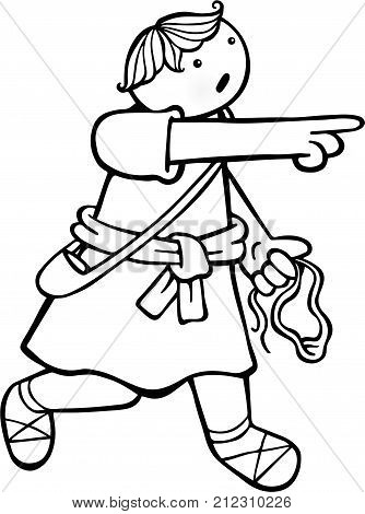Cartoon line drawing of a young David with his sling in his hand.
