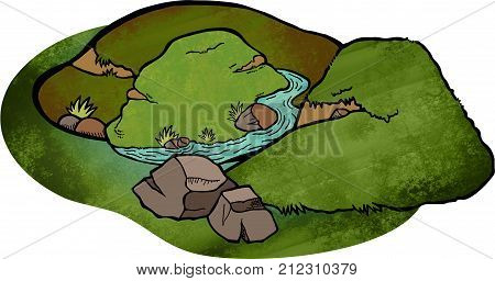 Doodle cartoon of a valley and hill landscape.