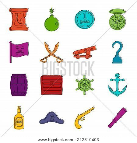 Pirate icons set. Doodle illustration of vector icons isolated on white background for any web design