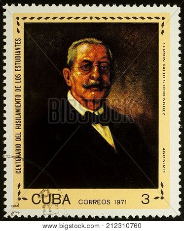 Moscow Russia - November 05 2017: A stamp printed in Cuba shows Dr. Fermin Valdes Dominguez Cuban Physician series