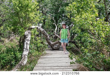 horizontal image of a caucasian woman posing on a wooden plank walk way surrounded by dense lush green trees on a warm summer day.