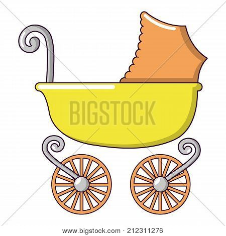 Baby carriage vintage icon. Cartoon illustration of baby carriage vintage vector icon for web