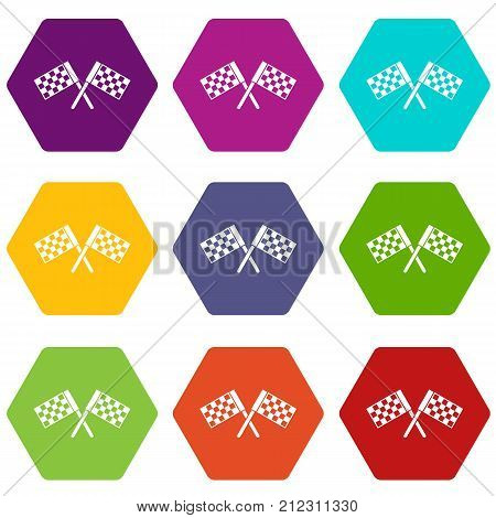 Crossed chequered flags icon set many color hexahedron isolated on white vector illustration