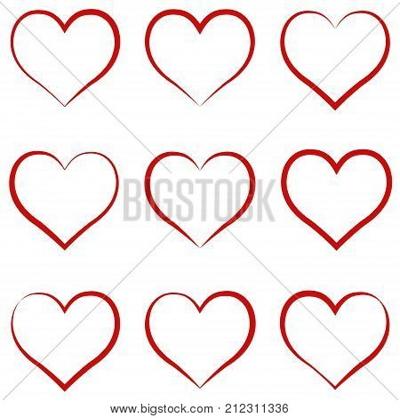 Heart outline red, set, symbol of the friendship and intimacy of Valentines Day love, vector calligraphy hand draw the heart, concept of love