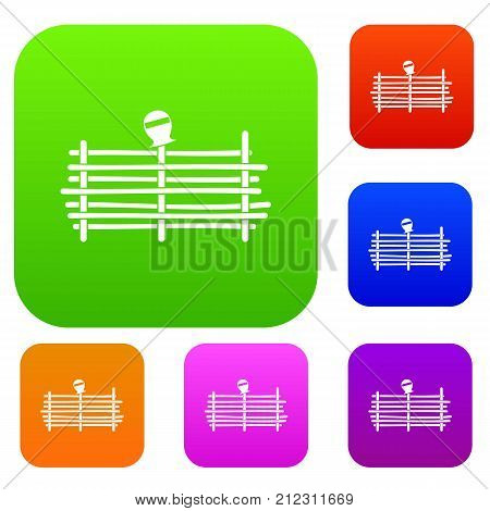 Palisade set icon color in flat style isolated on white. Collection sings vector illustration