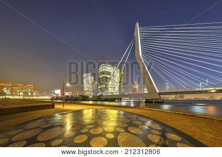 Erasmus Bridge Seen From Maaskade