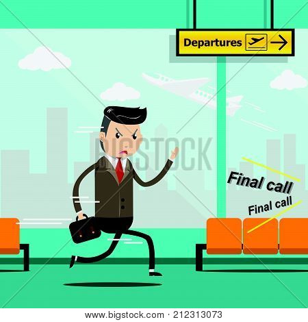 Businessman with luggage run in a hurry at airport terminal, Business trip. Airplane departure from window glass view and departure sign as background. Passenger hurry in final call period. EPS10
