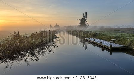 Landscape River Windmill